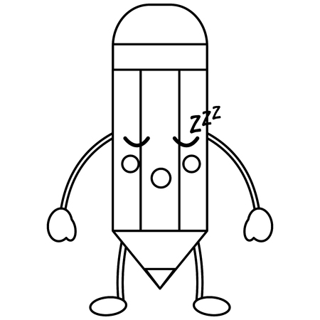 pencil sleep school supplies  es kawaii icon image vector illustration design  black line