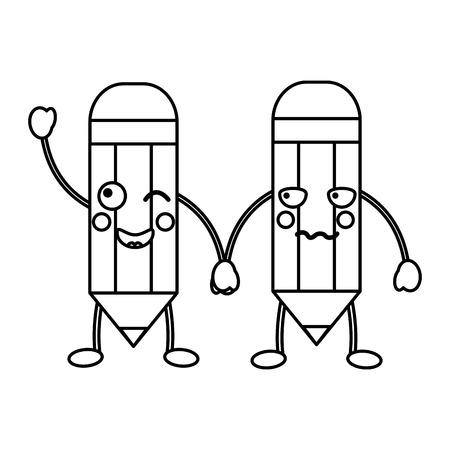 pencils school supplies  es kawaii icon image vector illustration design  black line