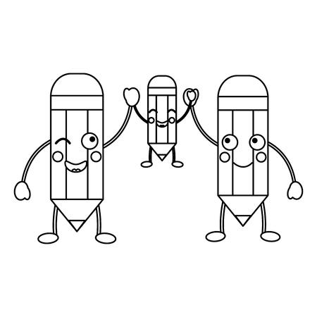 potloden school levert es kawaii pictogram afbeelding vector illustratie ontwerp zwarte lijn Stock Illustratie