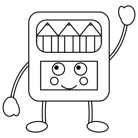 Happy pencils box school supplies  kawaii icon image vector illustration design on black line