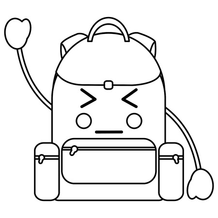Angry backpack kawaii icon. vector illustration design in black line