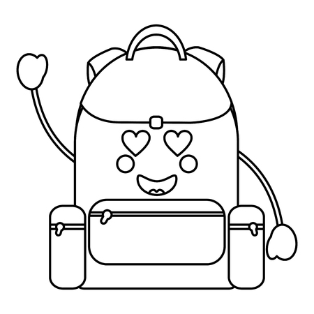 Backpack heart with eyes kawaii icon. vector illustration design in black line