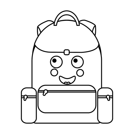 Happy  backpack school supplies kawaii icon image vector illustration design on black line