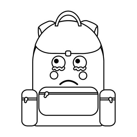 Trauriger Rucksackschulbedarf kawaii Ikonenbildvektor-Illustrationsdesign auf schwarzer Linie Standard-Bild - 93535736