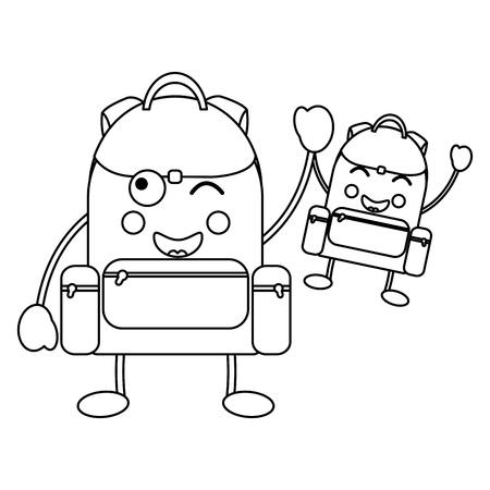Backpacks school supplies es kawaii icon image vector illustration design on black line Ilustração