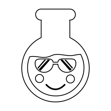 Flask sunglasses laboratory kawaii icon image vector illustration design on black line