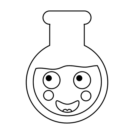 Happy flask laboratory kawaii icon image vector illustration design on  black line