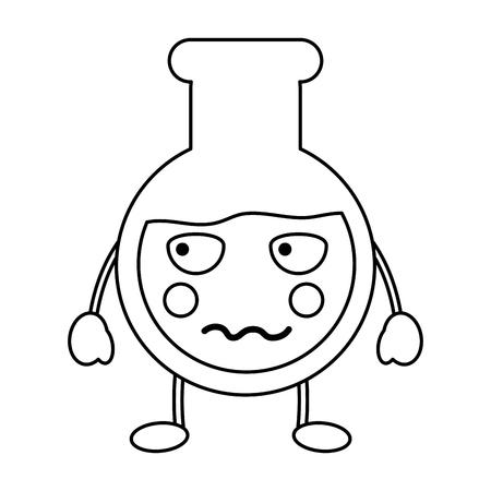 Angry flask laboratory kawaii icon image vector illustration design on black line