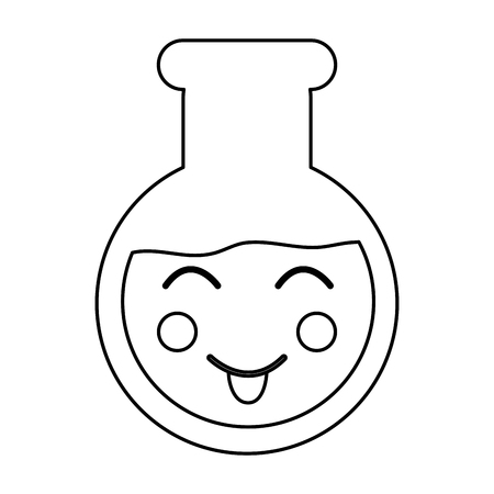 Happy flask laboratory kawaii icon image vector illustration design on black line