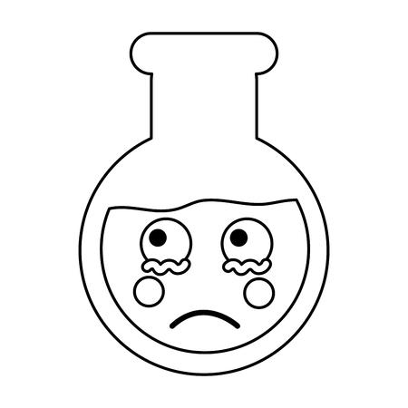 Sad flask laboratory kawaii icon image vector illustration design on black line