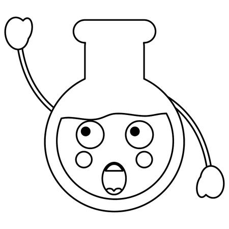 Surprised flask laboratory kawaii icon image vector illustration design on black line Illustration
