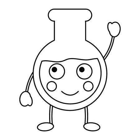happy flask laboratory icon image vector illustration design black line