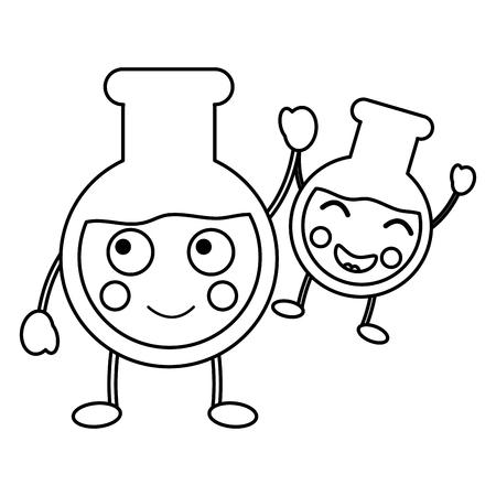 flasks laboratory icon image vector illustration design black line Illustration