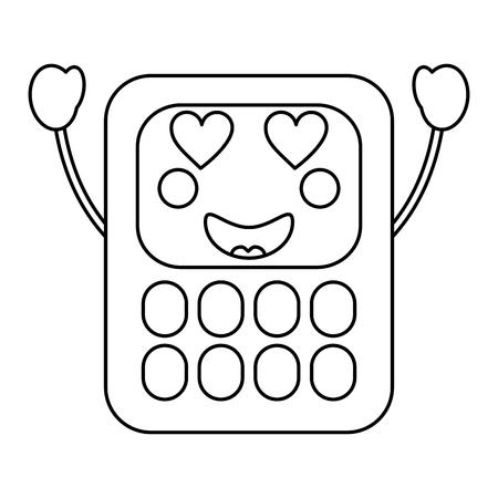 calculator heart eyes school supplies kawaii icon image vector illustration design black line