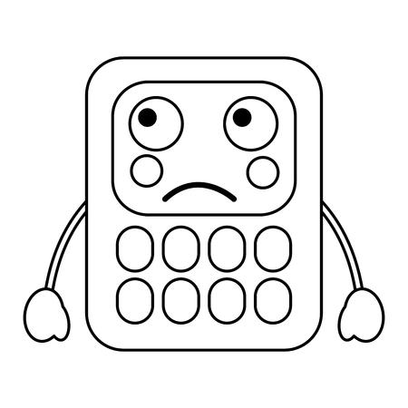 trieste rekenmachine school levert es kawaii pictogram afbeelding vector illustratie ontwerp zwarte lijn