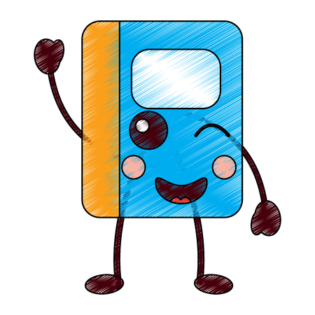 kawaii notebook school cartoon character vector illustration 向量圖像