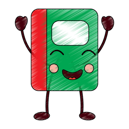 可愛い手帳学校漫画キャラクターベクトルイラスト