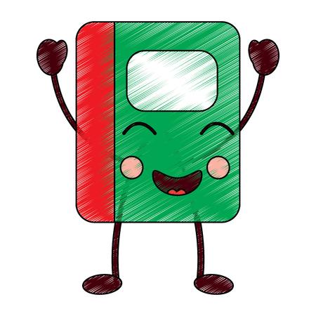 illustrazione di vettore del personaggio dei cartoni animati della scuola del taccuino di kawaii