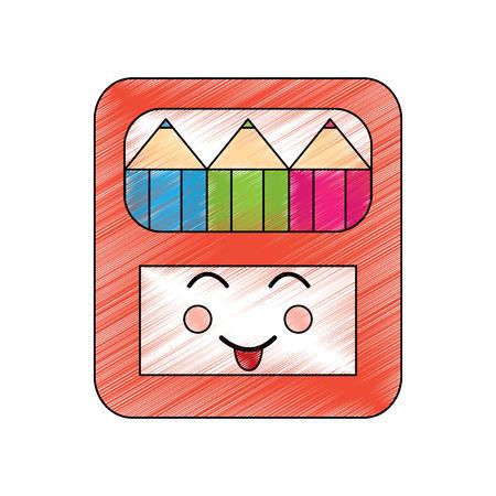 Potloden in vak kawaii karakter vectorillustratie Stock Illustratie