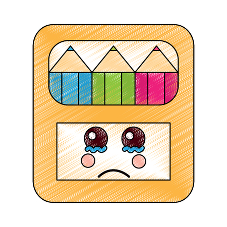 Pencils in box with cring facial expression character vector illustration.