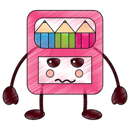 pencils in box  character vector illustration
