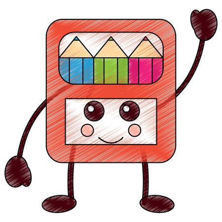 potloden in vak kawaii karakter vectorillustratie