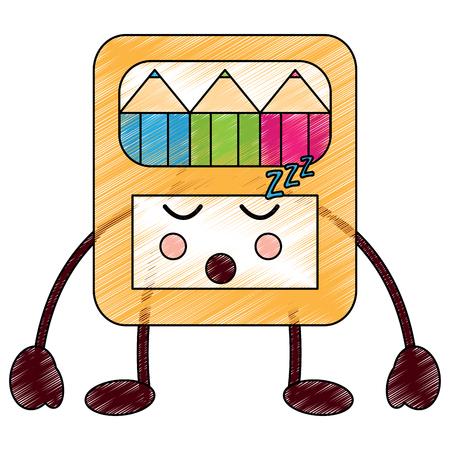 pencils in box kawaii character vector illustration