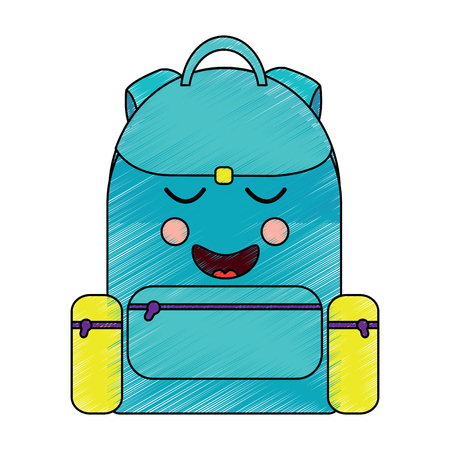 school backpack kawaii cartoon character vector illustration Stock fotó - 93553935