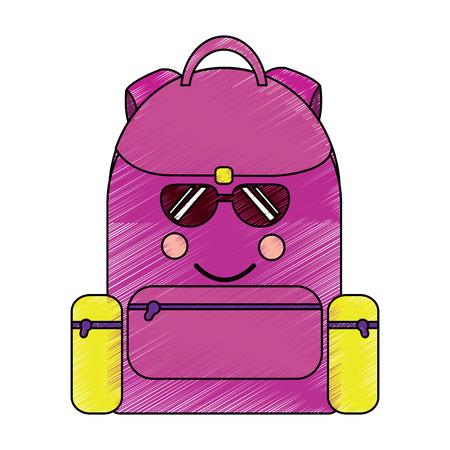 school backpack kawaii cartoon character vector illustration Stock fotó - 93463261