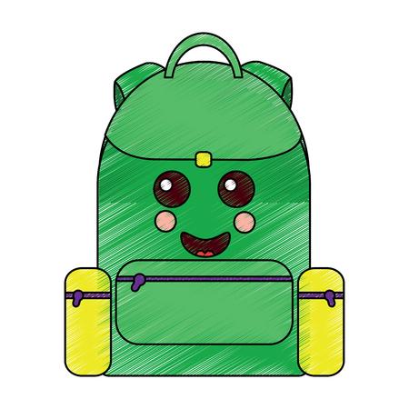 school backpack kawaii cartoon character vector illustration Stock fotó - 93463305