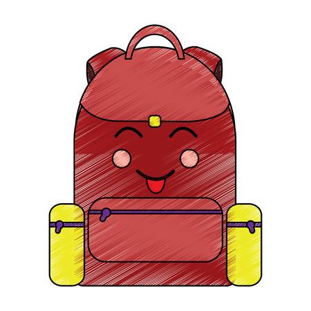 school backpack kawaii cartoon character vector illustration