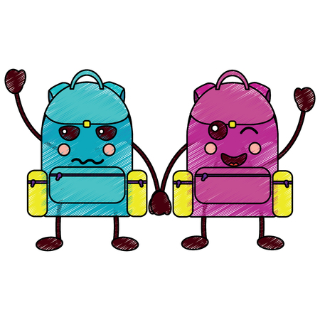 cartoon pair school backpack kawaii character vector illustration Иллюстрация