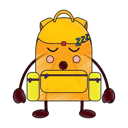 school backpack kawaii cartoon character vector illustration Stock fotó - 93464035
