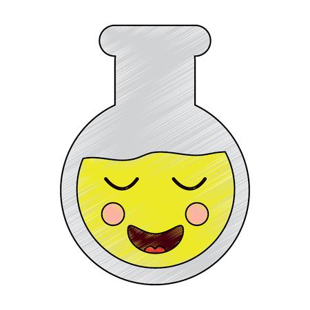 laboratory flask glass kawaii cartoon vector illustration
