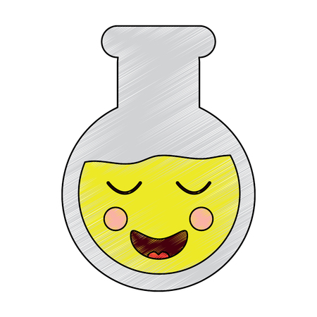 laboratory flask glass kawaii cartoon vector illustration
