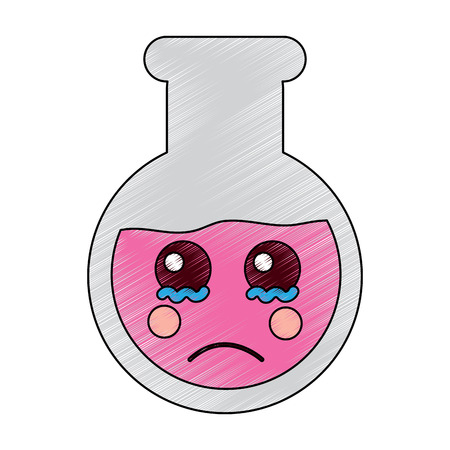 sad flask laboratory kawaii icon image vector illustration design  sketch style