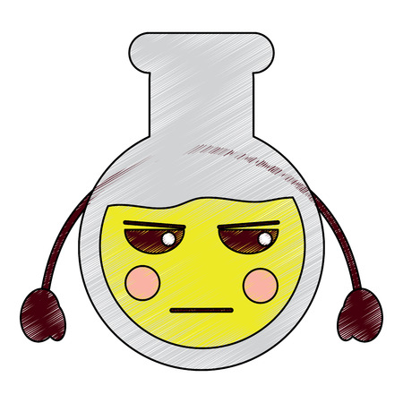 angry flask laboratory kawaii icon image vector illustration design  sketch style