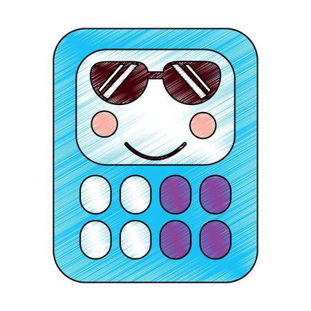 calculator sunglasses school supplies kawaii icon image vector illustration design  sketch style