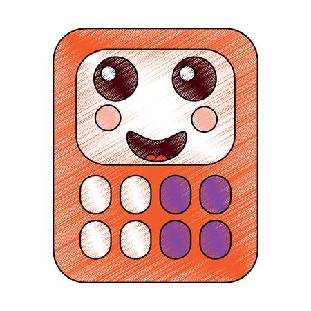 ハッピー電卓学用品可愛いアイコン画像ベクトルイラストデザインスケッチスタイル