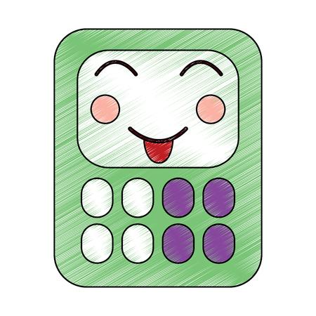 happy calculator school supplies kawaii icon image vector illustration design  sketch style Illustration