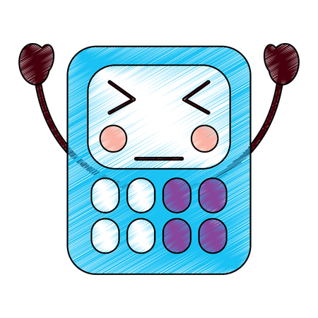 angry calculator school supplies  icon image vector illustration design sketch style