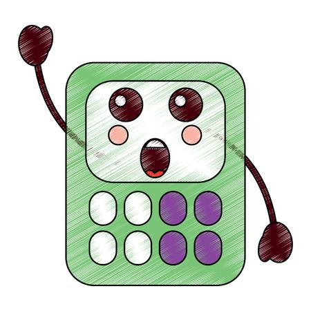 Surprised calculator school supplies kawaii icon image vector illustration design sketch style.