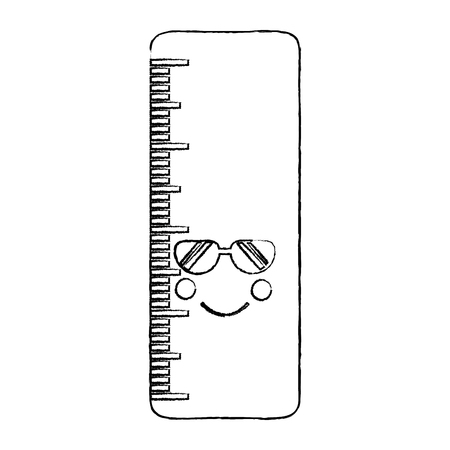 Ruler with sunglasses kawaii icon 向量圖像