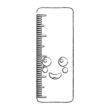 ruler happy  school supplies kawaii icon image vector illustration design  black sketch line