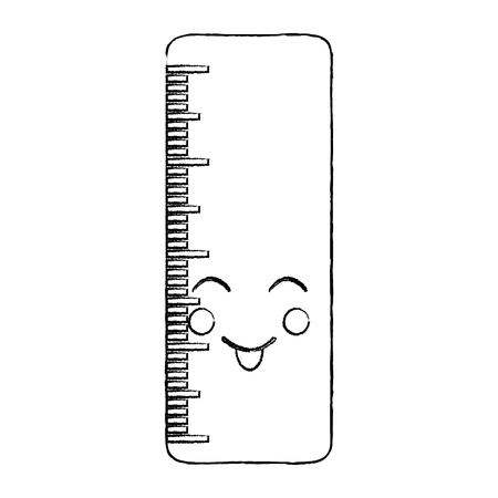 ruler happy  school supplies kawaii icon image vector illustration design  black sketch line