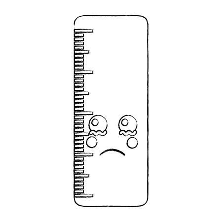 Ruler sad school supplies icon image. Vector illustration design sketch style.