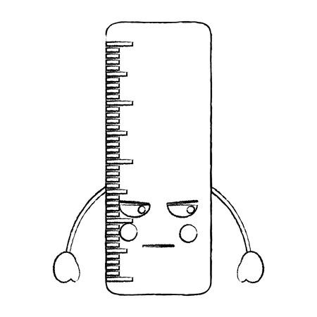 Lineal wütend Schule liefert Symbol Bild . Vektor-Illustration Skizze Stil Stil Standard-Bild - 93522022