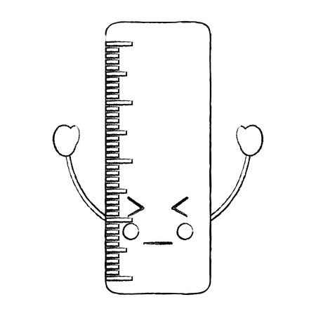 Ruler angry school supplies icon image. Vector illustration design sketch style.