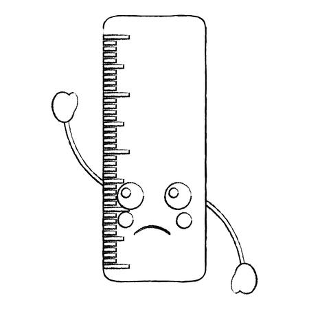 Ruler sad school supplies icon image. Vector illustration design black sketch line.  イラスト・ベクター素材