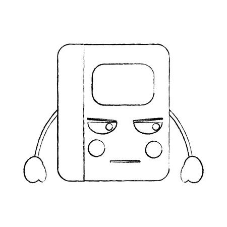 notebook angry  school supplies kawaii icon image vector illustration design  black sketch line